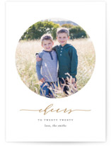 This is a brown new year photo card by Ana Sharpe called New Cheers with standard printing on smooth signature in standard.