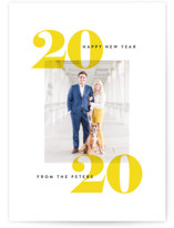 This is a yellow new year photo card by Jessica Corliss called Overjoyed with standard printing on smooth signature in standard.