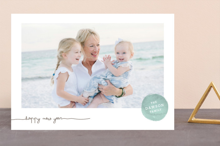 """""""Frosted Watercolor"""" - New Year Photo Cards in Blue Frost by annie clark."""