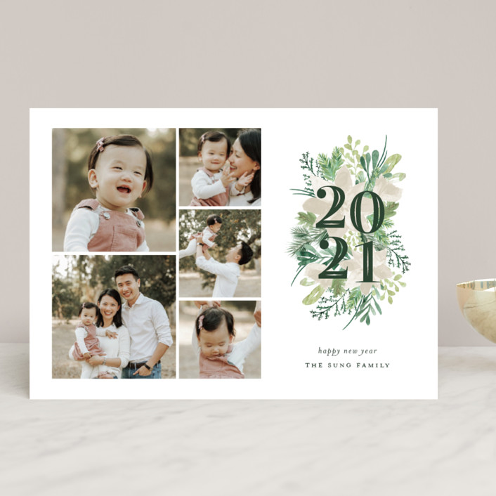 """""""Botanical Year"""" - New Year Photo Cards in Pine by Sarah Brown."""