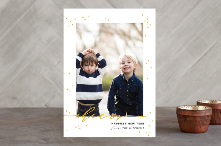 """New Year Cheers"" - Elegant New Year Photo Cards in denim by Shirley Lin Schneider."
