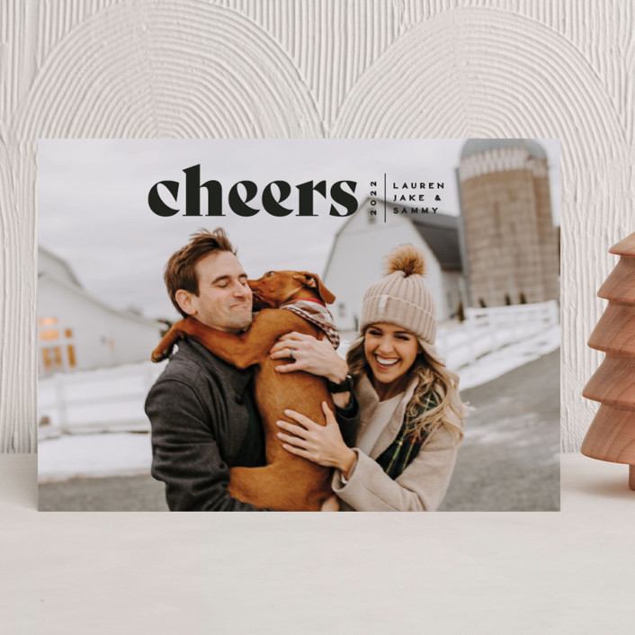 """""""Cheers Bold"""" - New Year Photo Cards in Raven by Owl and Toad."""