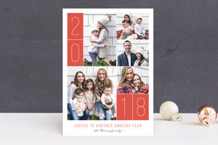 """""""Blocked Layout"""" - New Year Photo Cards in Pomegranate by Ann Gardner."""