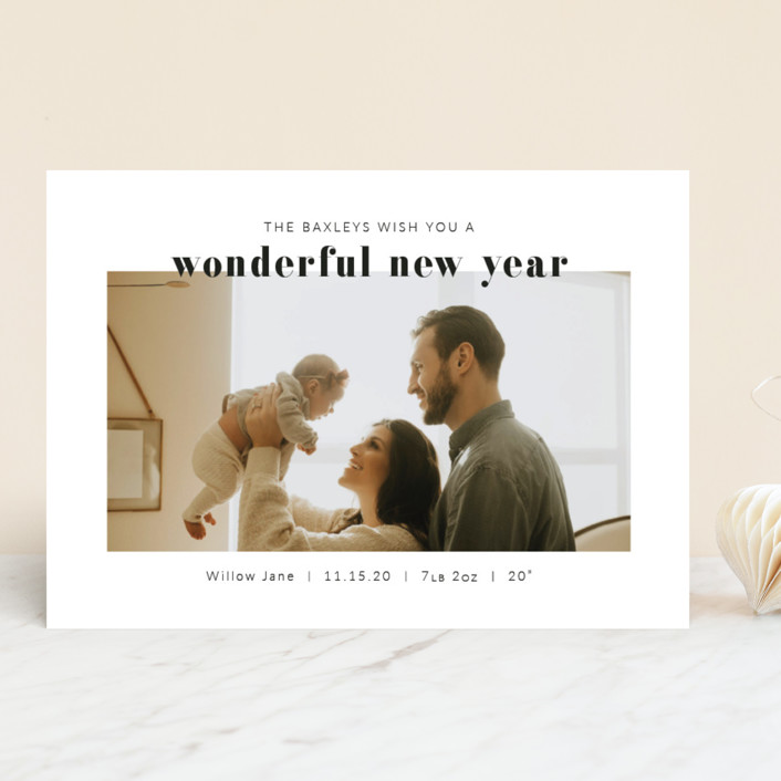 """Simply Wonderful"" - New Year Photo Cards in Charcoal by Krissy Bengtson."