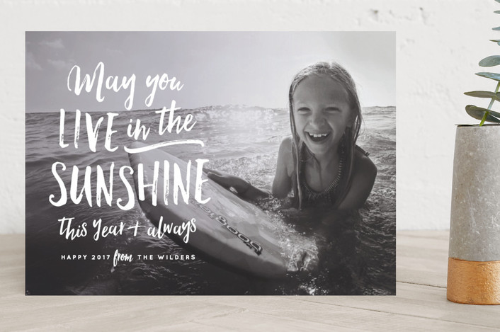 """Sunshine"" - Bohemian New Year Photo Cards in Pearl by Olivia Raufman."
