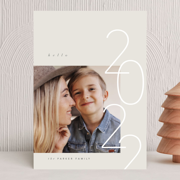 """""""Happy Hello"""" - Modern New Year Photo Cards in Latte by Carolyn Nicks."""