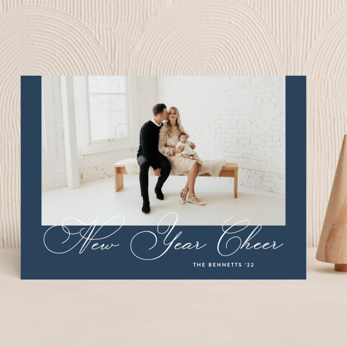 """Deco Frame"" - Vintage New Year Photo Cards in Aqua by Laura Hankins."
