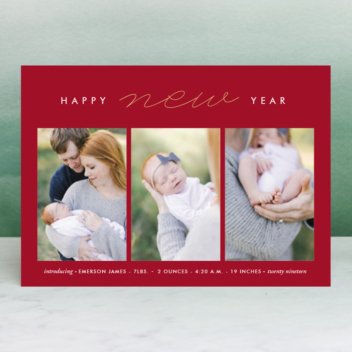 """So Modern"" - New Year Photo Cards in Pearl by Oma N. Ramkhelawan."