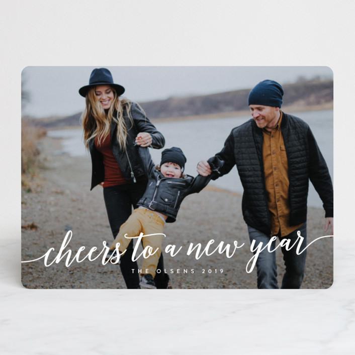 """Flowing Script"" - New Year Photo Cards in Salt & Pepper by Melanie Severin."