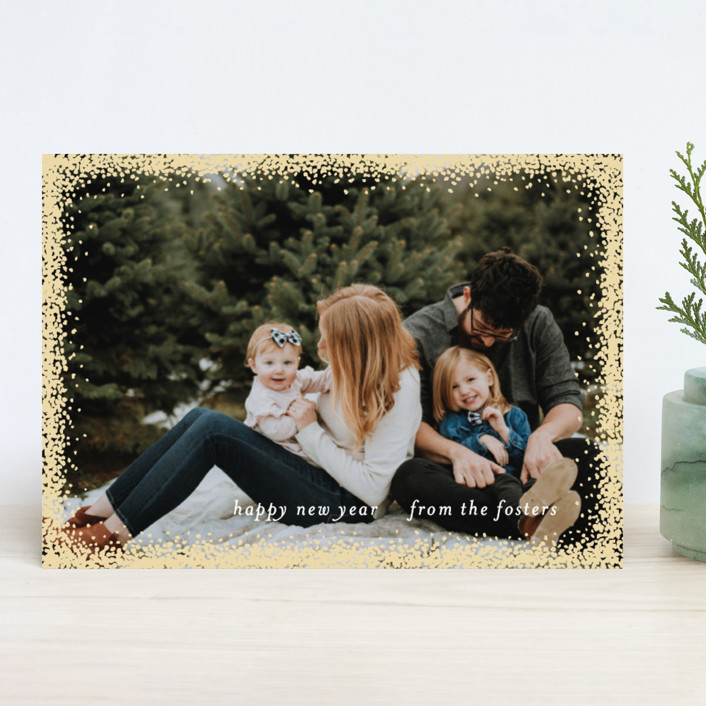 """Holiday Frame"" - Full-Bleed Photo, Elegant New Year Photo Cards in Gold by Julia Hall."