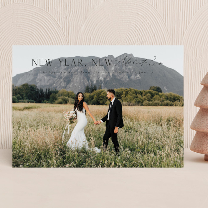 """""""Cliffside"""" - New Year Photo Cards in Coal by Ashlee Townsend."""