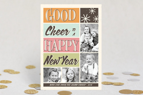 Retro Cheer New Year Photo Cards