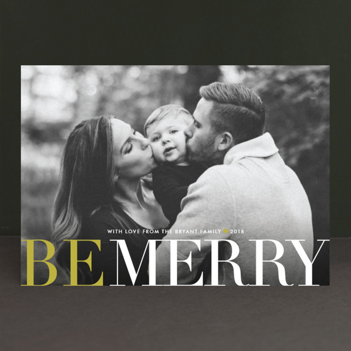 """""""Big and Merry"""" - New Year Photo Cards in Citron by Carrie ONeal."""