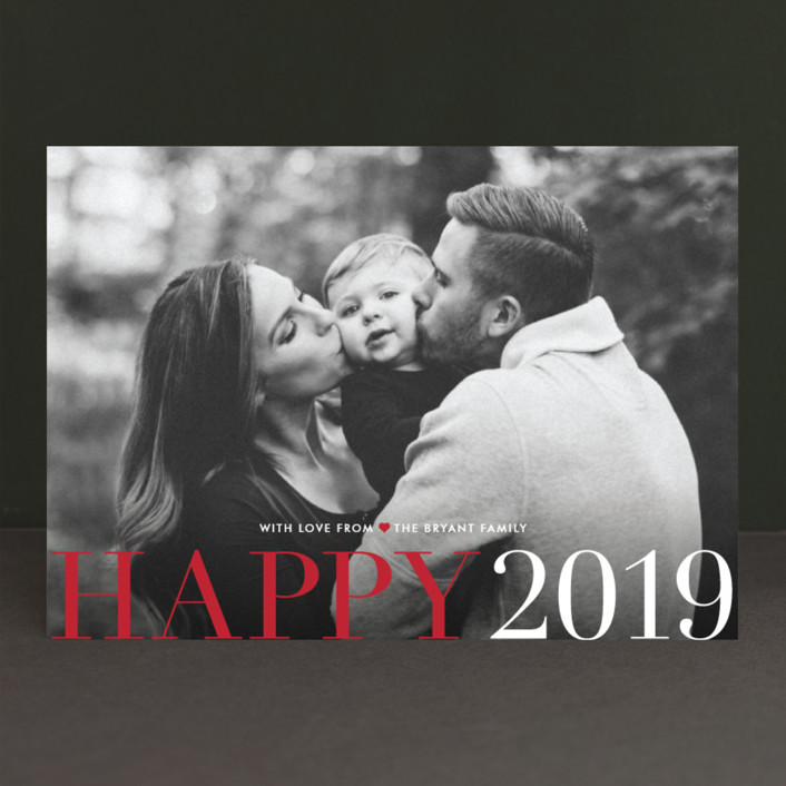 """Big and Merry"" - Bold typographic, Full-Bleed Photo New Year Photo Cards in Ruby by Carrie ONeal."
