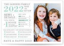 This is a green new year photo card by cambria called Family Year in Review with standard printing on smooth signature in standard.