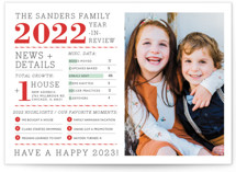 This is a red new year photo card by cambria called Family Year in Review with standard printing on smooth signature in standard.