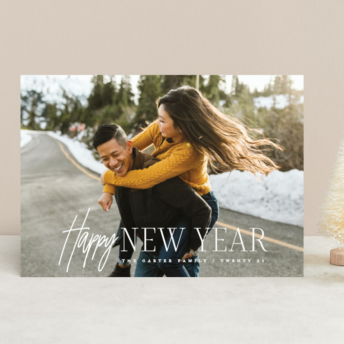 """New year happy"" - New Year Photo Cards in Navy by Creo Study."