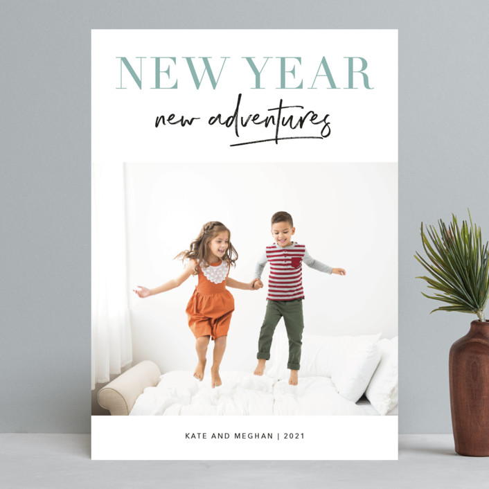 """""""Adventures Together"""" - New Year Photo Cards in Sage by Kelly Nasuta."""