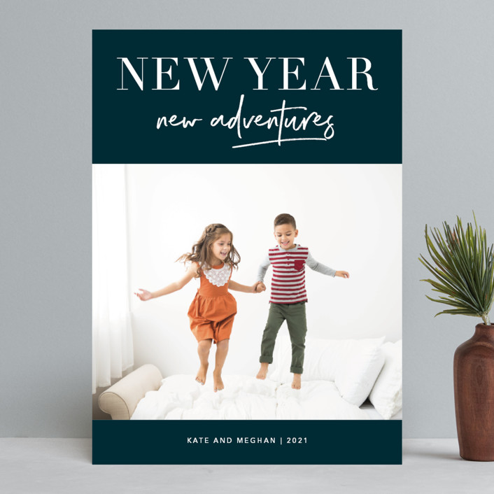 """Adventures Together"" - New Year Photo Cards in Navy by Kelly Nasuta."