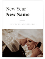 This is a black and white new year photo card by Emmeline Bramble called New Year New Name with standard printing on smooth signature in standard.