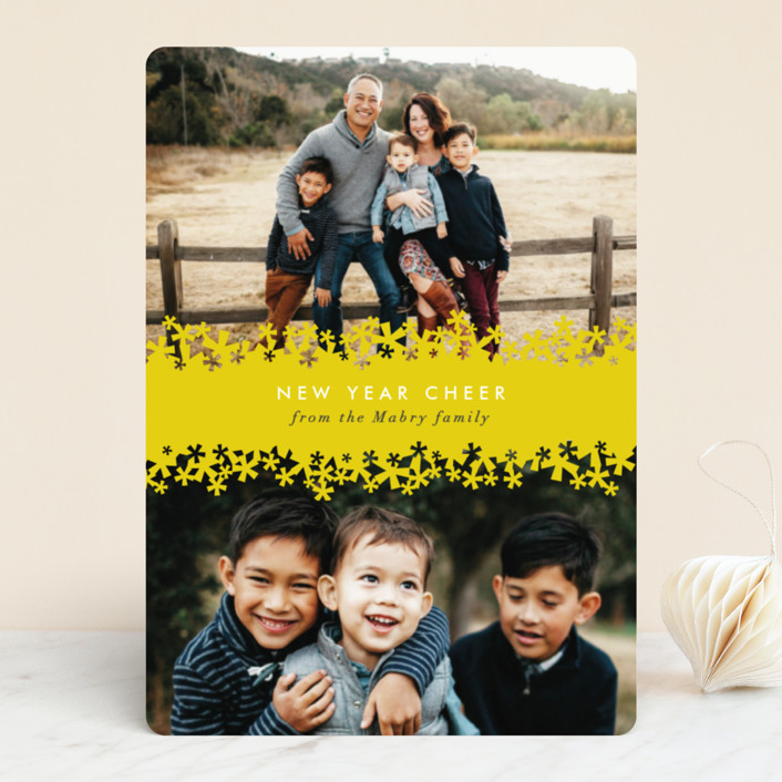 """""""Paper Cut Snow"""" - Vintage New Year Photo Cards in Snow by Laura Hankins."""