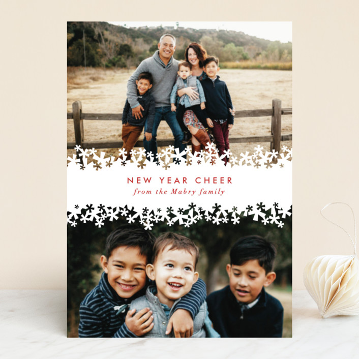 """""""Paper Cut Snow"""" - Classical New Year Photo Cards in Snow by Laura Hankins."""