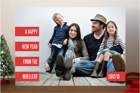 Striped Minimal New Year Photo Cards