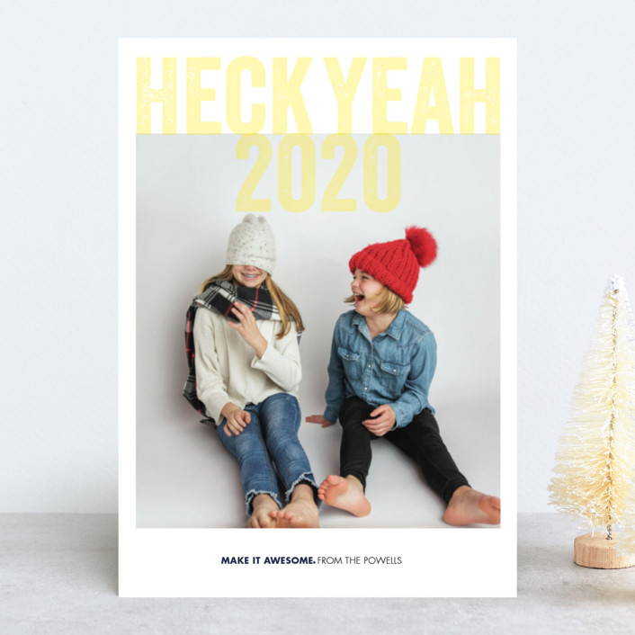 """Heck Yeah"" - Funny New Year Photo Cards in Corn by Eric Clegg."