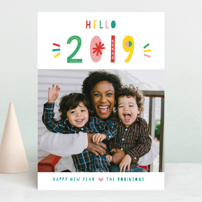 """Whimsical New Year"" - Modern New Year Photo Cards in Snow by Shirley Lin Schneider."
