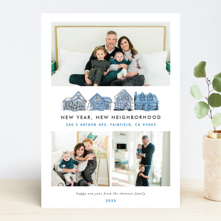 """New Year New Neighborhood"" - New Year Photo Cards in Peach by Shiny Penny Studio."