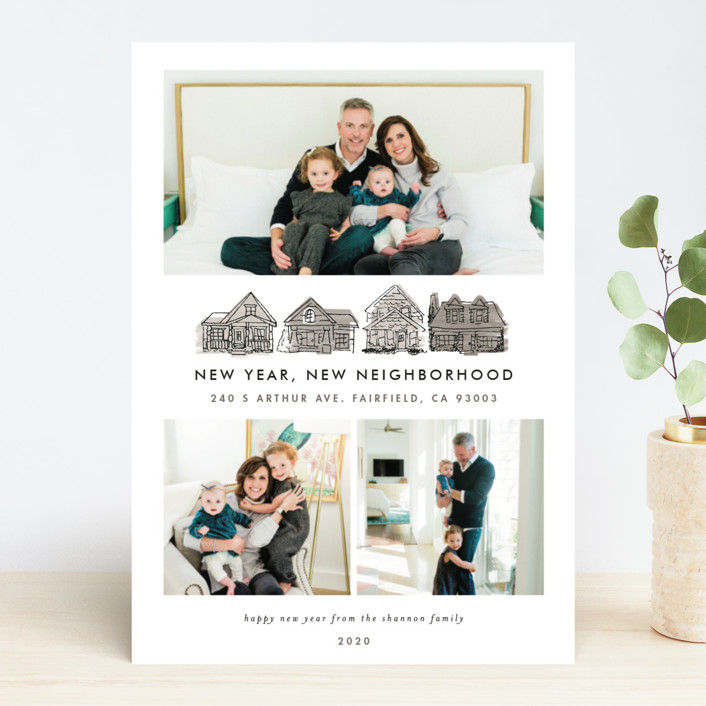 """New Year New Neighborhood"" - New Year Photo Cards in Corn Flower Blue by Shiny Penny Studio."