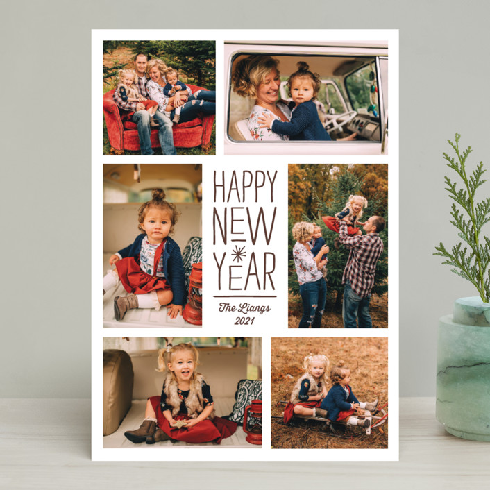 """Sparkling Cheers"" - New Year Photo Cards in Chocolate by Katherine Moynagh."