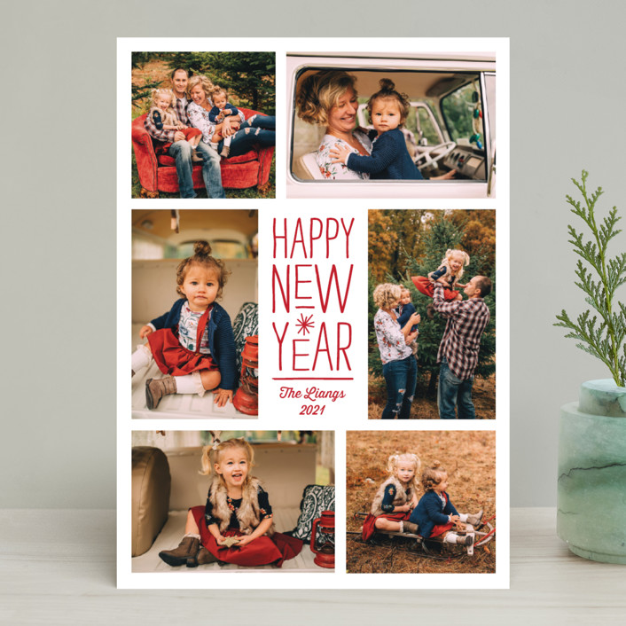 """""""Sparkling Cheers"""" - New Year Photo Cards in Berry by Katherine Moynagh."""