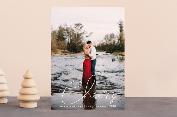 """cheers minimalist"" - New Year Photo Cards in Winter by Sweetgrass Paper Company."