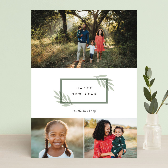 """Simply foraged"" - New Year Photo Cards in Sage by Stacey Meacham."