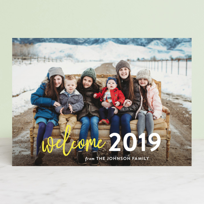 """Welcome Year"" - Modern New Year Photo Cards in Lemon by Chasity Smith."