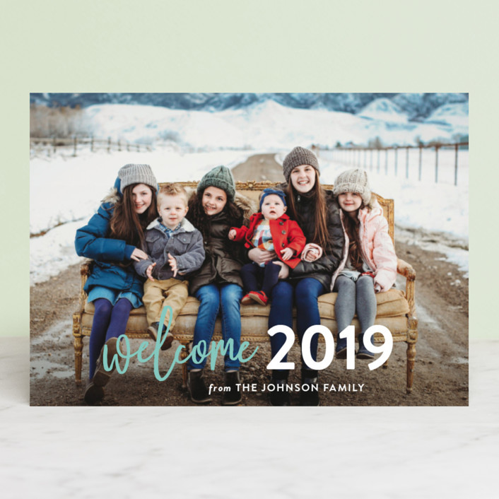 """Welcome Year"" - Modern New Year Photo Cards in Seafoam by Chasity Smith."