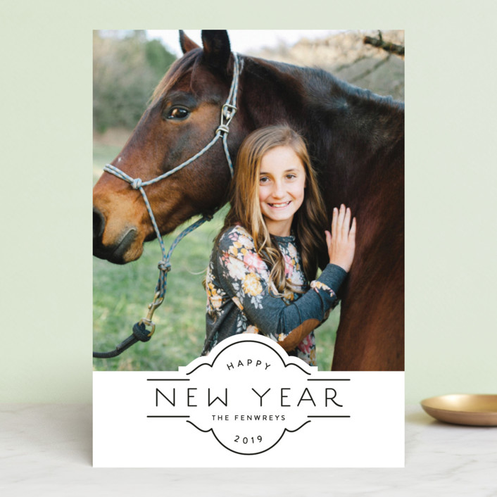 """scalloped adornment"" - Vintage New Year Photo Cards in Snow by Rebecca Durflinger."