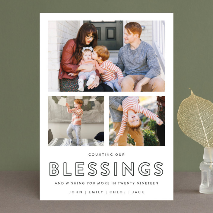 """Counting Our Blessings"" - New Year Photo Cards in Slate by Kasia Labocki."
