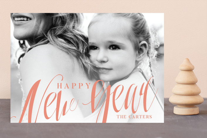"""""""Boldly Scripted"""" - New Year Photo Cards in Peach by GeekInk Design."""