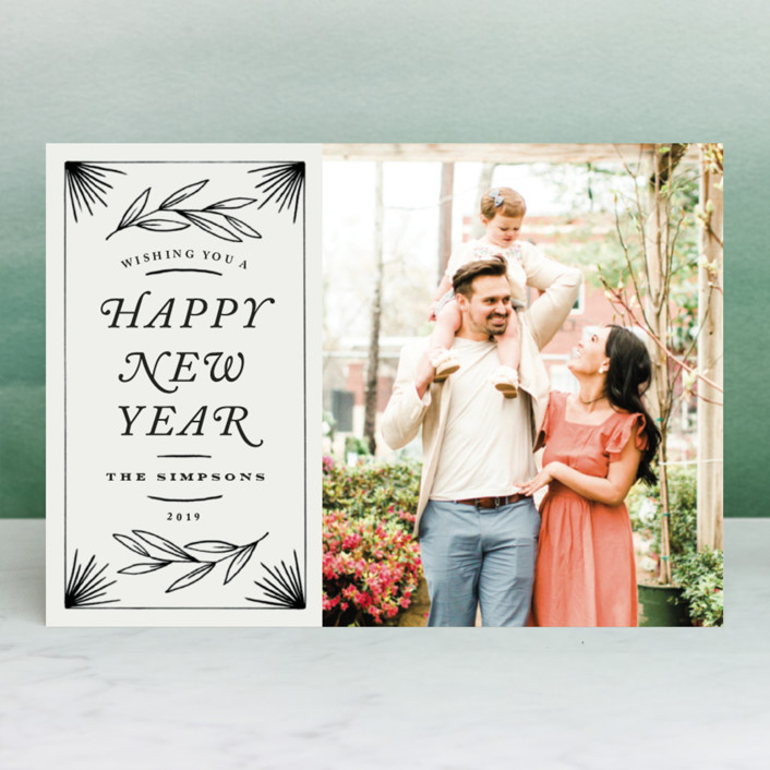 """Vintage New Year"" - Vintage New Year Photo Cards in Ivory by Kelly Schmidt."