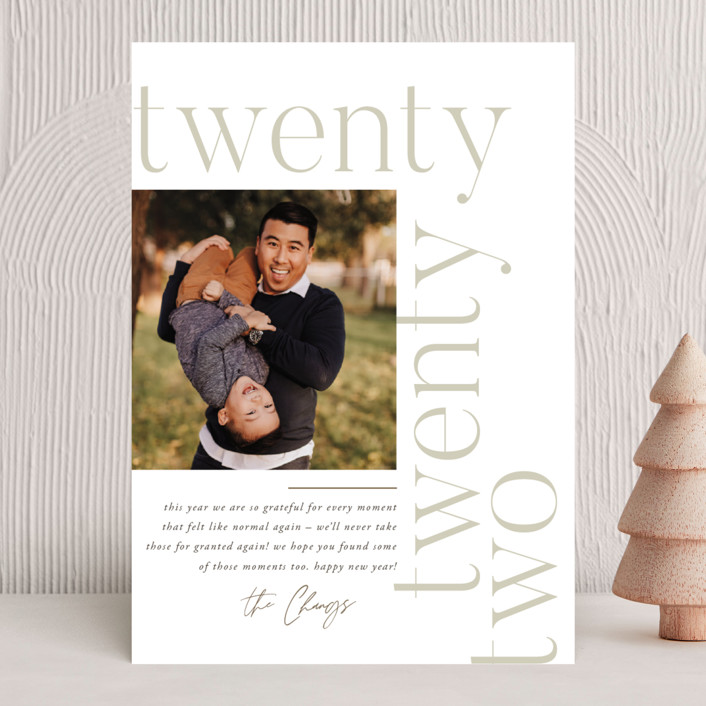 """Modern Letter"" - New Year Photo Cards in Cloud by Robert and Stella."