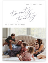 This is a grey new year photo card by Carrie ONeal called Milk with standard printing on smooth signature in standard.