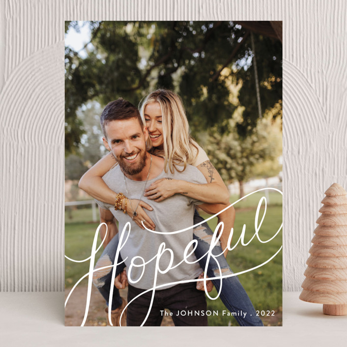 """""""Hopeful Hand-Lettering"""" - New Year Photo Cards in Snow by Becky Nimoy."""