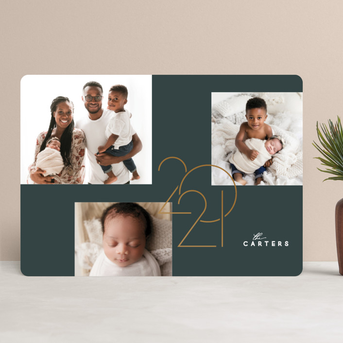 """The New Year"" - Modern New Year Photo Cards in Evergreen by GeekInk Design."