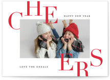 This is a red new year photo card by Carrie ONeal called Bursting with Cheer with standard printing on smooth signature in standard.
