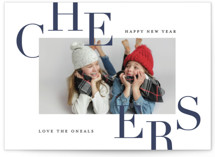 This is a blue new year photo card by Carrie ONeal called Bursting with Cheer with standard printing on smooth signature in standard.