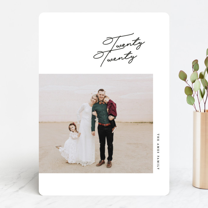 """Script"" - New Year Photo Cards in Navy by Erin L. Wilson."