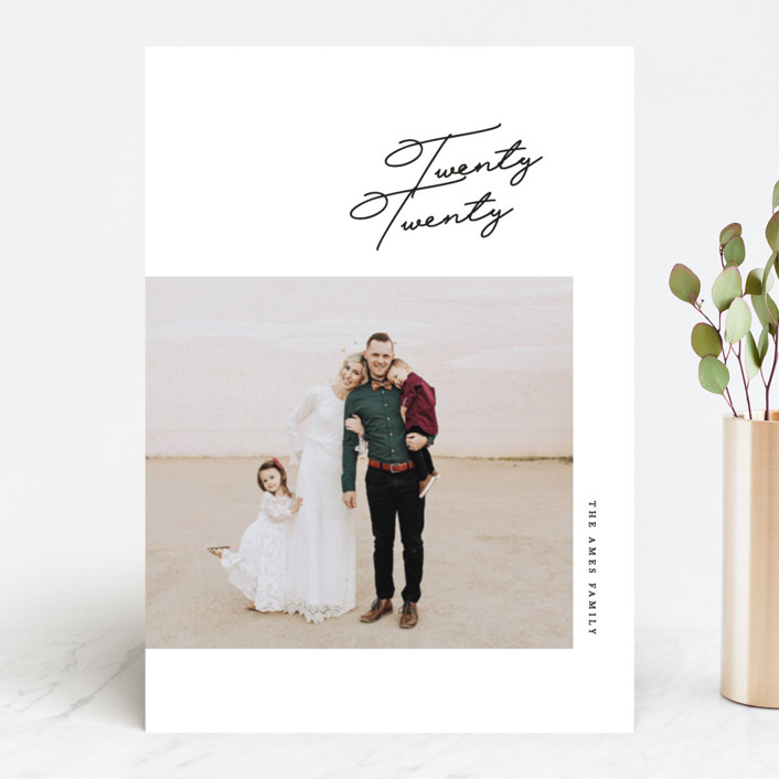 """Script"" - New Year Photo Cards in Jet by Erin L. Wilson."