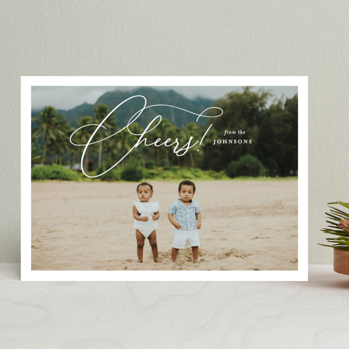 """""""Celebration Script"""" - New Year Photo Cards in Snowfall by Meggy Masters."""